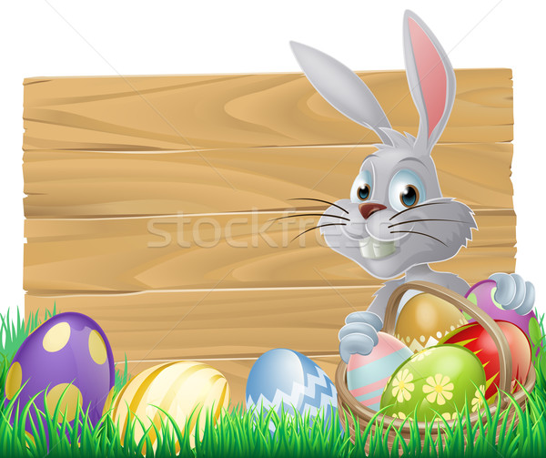 Wooden sign Easter bunny Stock photo © Krisdog