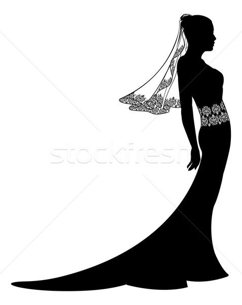 Bride in wedding dress silhouette Stock photo © Krisdog