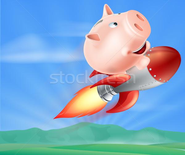 Raket spaarvarken illustratie top vliegen lucht Stockfoto © Krisdog
