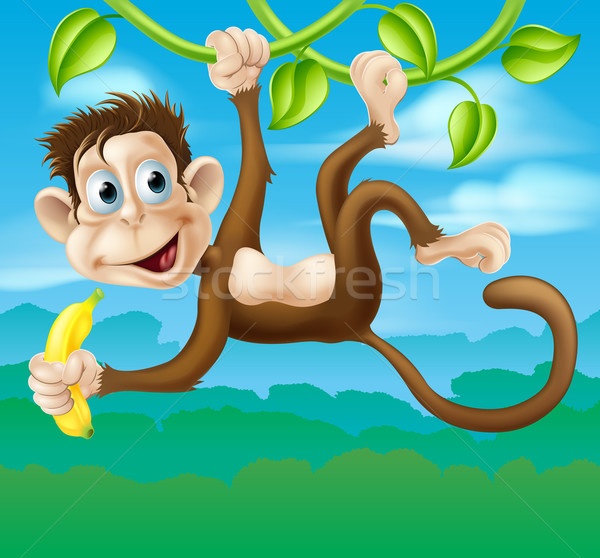 Monkey cartoon in jungle swinging on vine Stock photo © Krisdog