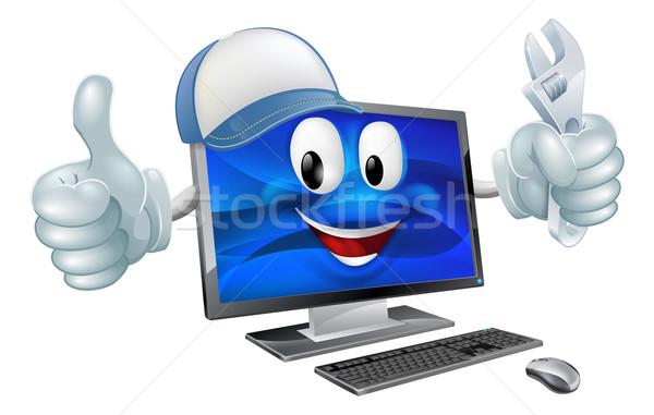 Reparação de computadores desenho animado mascote boné chave inglesa Foto stock © Krisdog