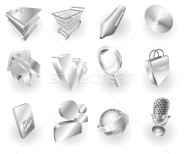 Metal metallic web and application icon set Stock photo © Krisdog