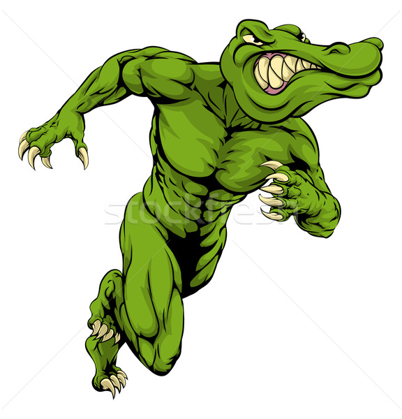 аллигатор крокодила талисман работает иллюстрация Scary Сток-фото © Krisdog