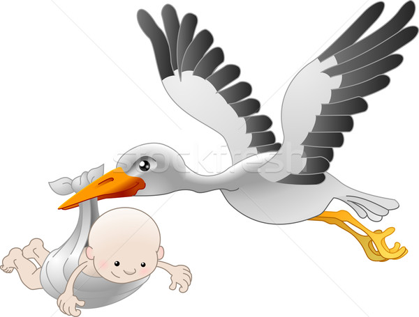 Cigüena recién nacido bebé ilustración vuelo cumpleanos Foto stock © Krisdog