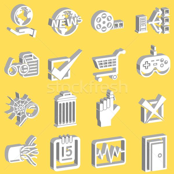 3D Internet web icon series set Stock photo © Krisdog