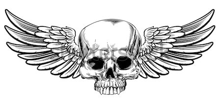 Woodcut Winged Skull Sword Insignia Stock photo © Krisdog