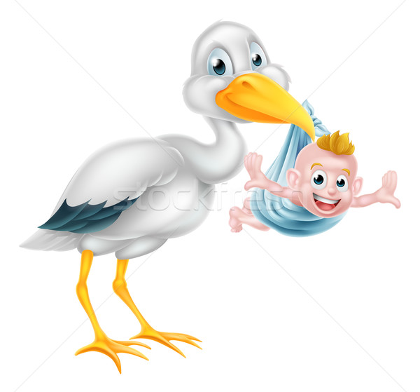 Cartoon Stork Holding New Born Baby Stock photo © Krisdog
