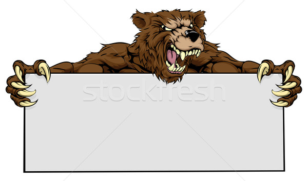 Bear Sports Mascot Sign Stock photo © Krisdog