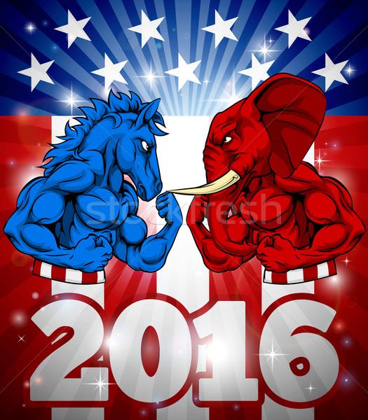 Burro vs elefante 2016 eleição cartaz Foto stock © Krisdog