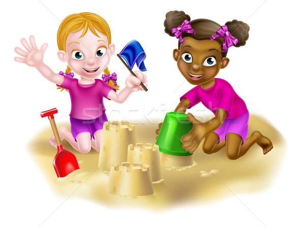 Rajz lányok épület feketefehér lány gyerekek Stock fotó © Krisdog