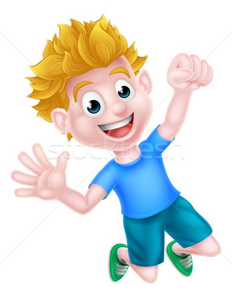 Cartoon Boy Jumping for Joy Stock photo © Krisdog
