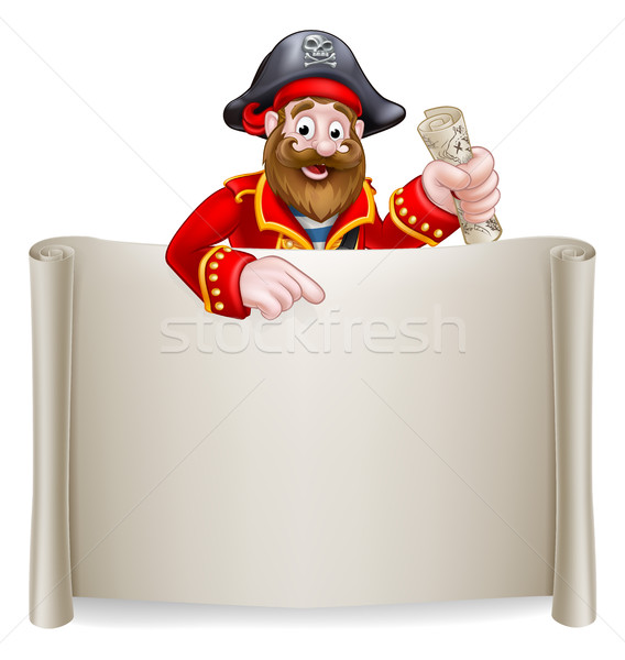 Stock photo: Cartoon Pirate Scroll Sign