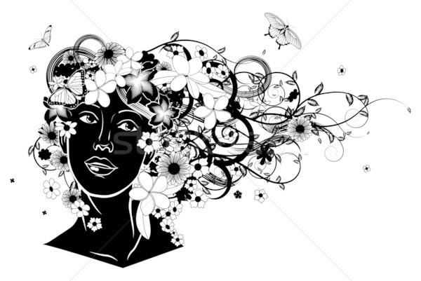 Stockfoto: Mooie · vrouw · haren · bloemen · vlinders · bloem · liefde