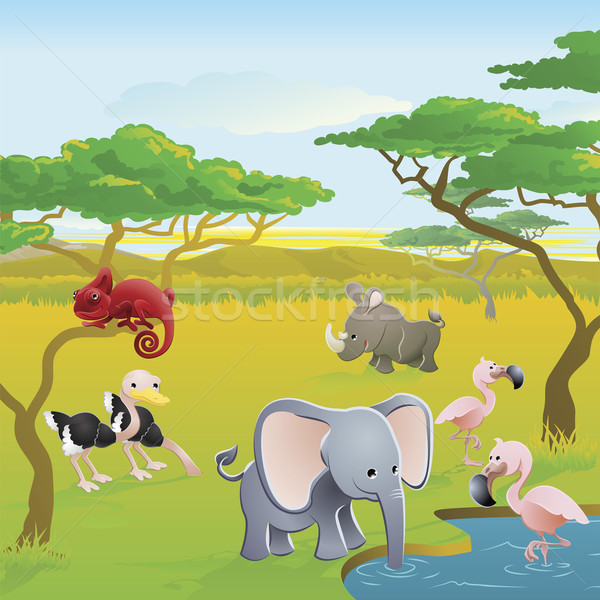 Cute African safari animal cartoon scene Stock photo © Krisdog