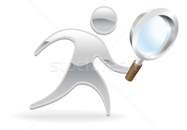 Metallic character magnifying glass concept Stock photo © Krisdog
