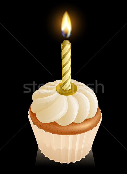 Fairy cake cupcake with birthday candle Stock photo © Krisdog