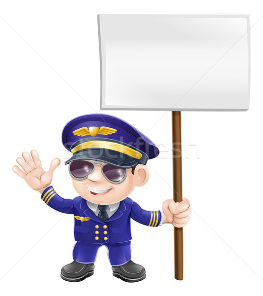 Stock photo: Cute pilot with sign character illustration