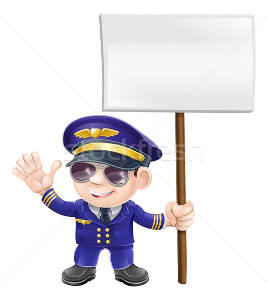 Cute pilote signe personnage illustration avion Photo stock © Krisdog