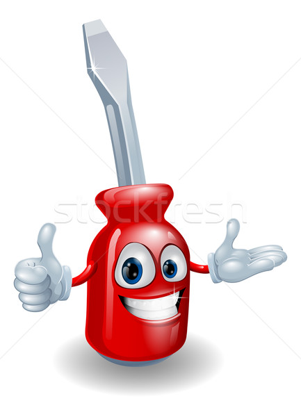 Schroevendraaier man cartoon illustratie Rood glimlachend Stockfoto © Krisdog
