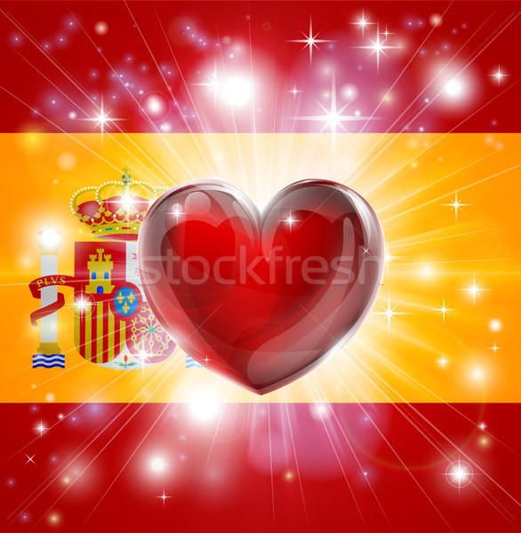 Love Spain flag heart background Stock photo © Krisdog