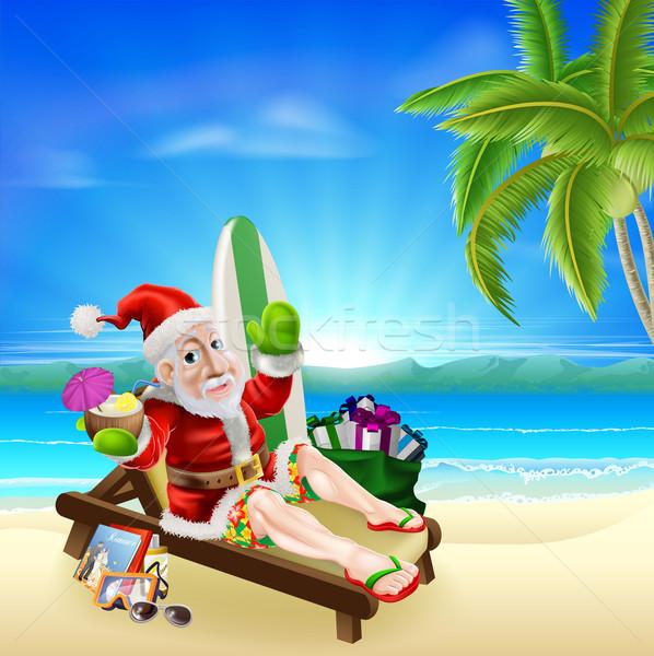 Christmas Santa Tropical Beach Scene Stock photo © Krisdog