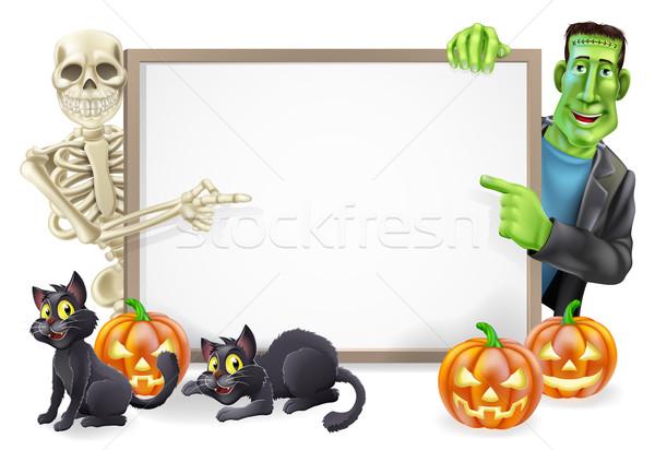 Halloween Sign with Skeleton and Frankenstein Stock photo © Krisdog