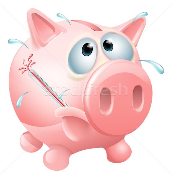 Egészségtelen pénzügyek indiszponált persely izzadás láz Stock fotó © Krisdog