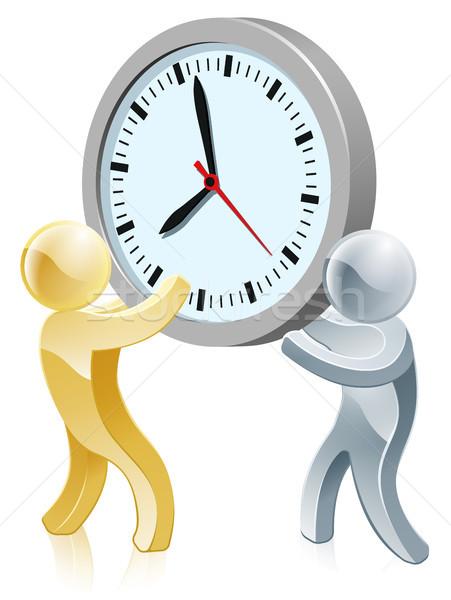 Menschen halten Riese Uhr Illustration zwei Personen Stock foto © Krisdog