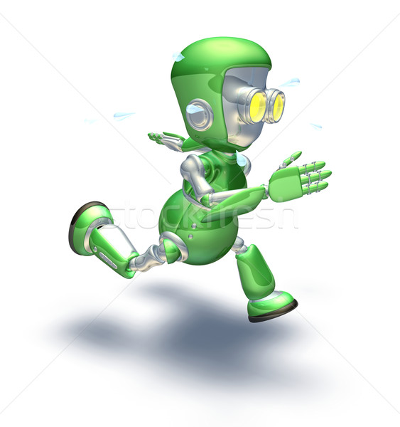 Cute green metal robot character running a sprint Stock photo © Krisdog