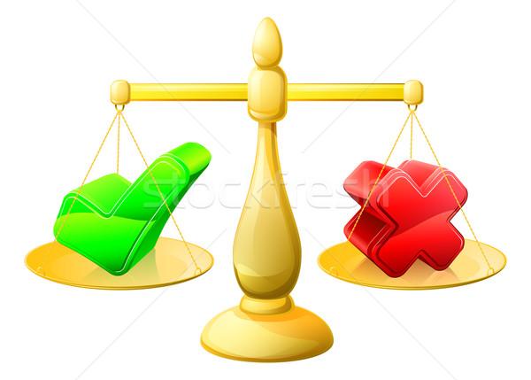 Tick and cross scales Stock photo © Krisdog
