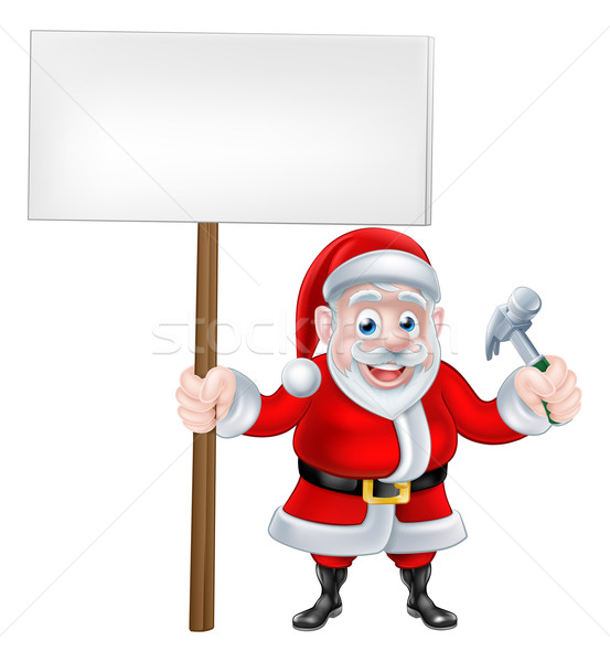 Cartoon Santa Holding Sign and Hammer Stock photo © Krisdog