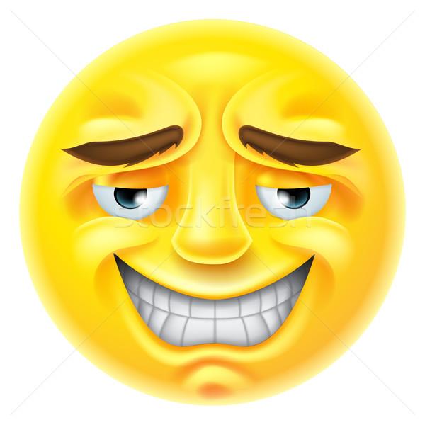Mosolyog emotikon karakter megszégyenített arc szeretet Stock fotó © Krisdog