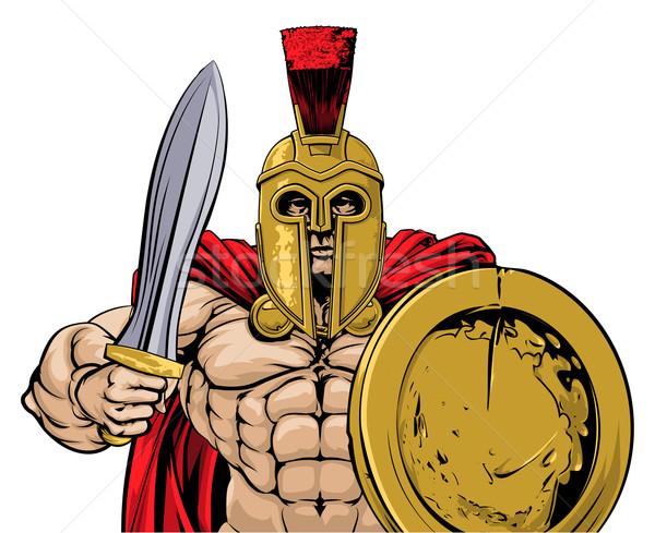 Troiano ilustração gladiador antigo grego romano Foto stock © Krisdog