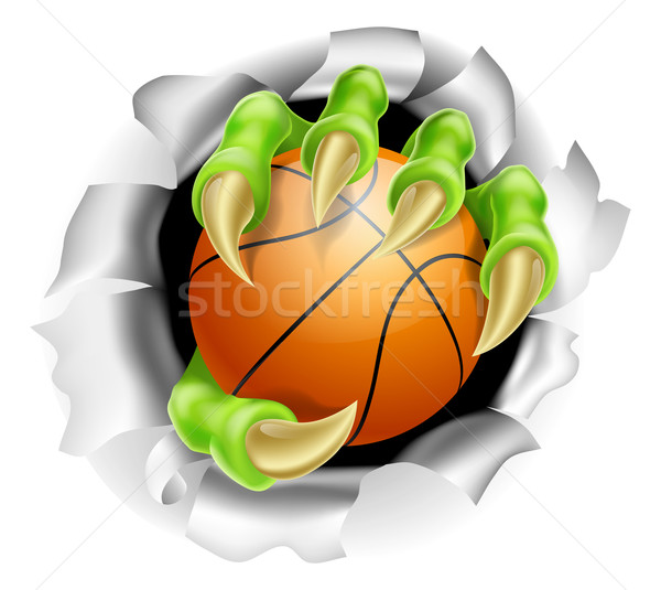 Claw with Basketball Ball Breaking out Of Background Stock photo © Krisdog