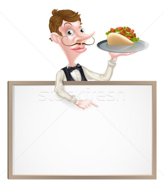 Desenho animado quibe garçom assinar ilustração pão Foto stock © Krisdog