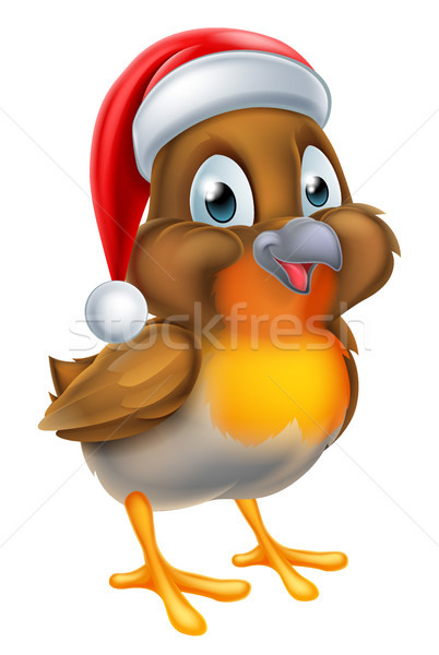 Christmas Robin Bird in Red Santa Hat Stock photo © Krisdog