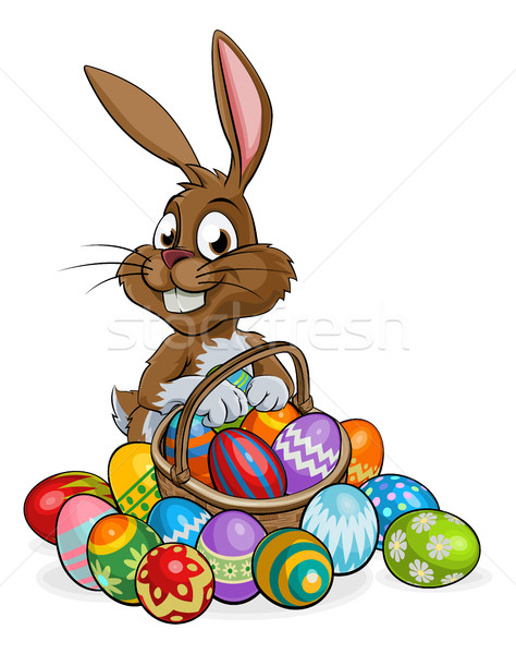 Cartoon Easter Bunny with Eggs Basket Stock photo © Krisdog
