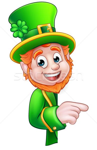 Leprechaun St Patricks Day Cartoon Mascot Pointing Stock photo © Krisdog