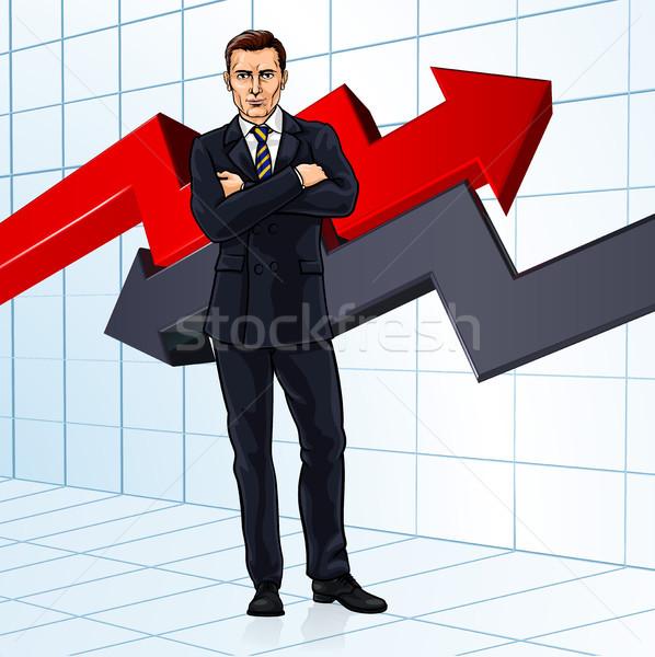 Biznesmen inwestycja doradca finansowy finansowych zysk wykres Zdjęcia stock © Krisdog