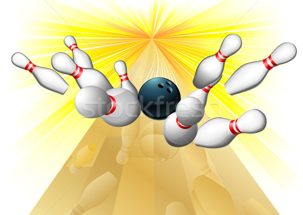 Bowlingkugel Illustration zehn Design Kunst Gruppe Stock foto © Krisdog