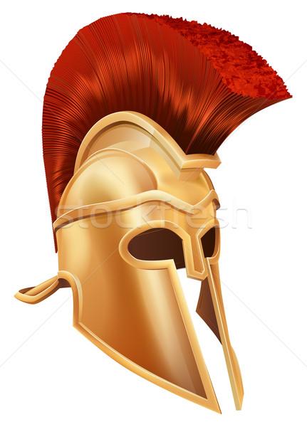 Zdjęcia stock: Trojański · kask · ilustracja · brąz · spartanin · Roman