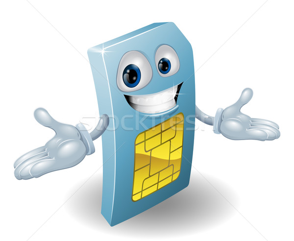 Mobile phone sim card mascot Stock photo © Krisdog