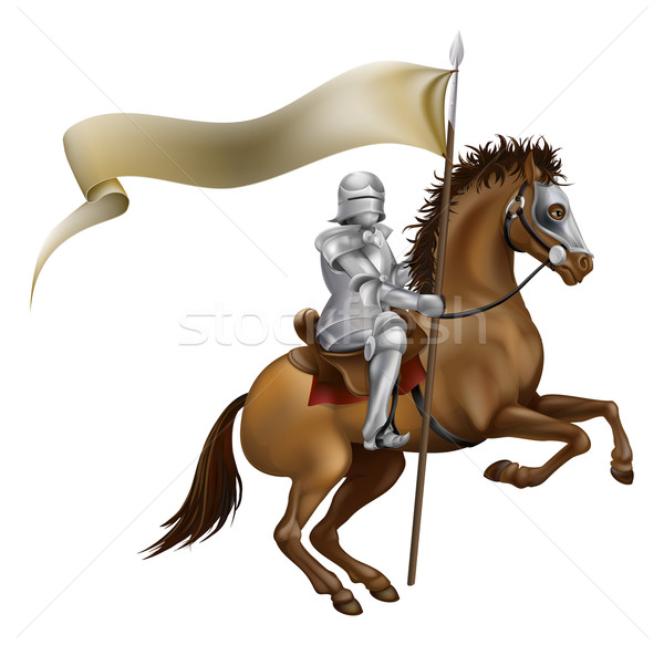 Stock photo: Knight with spear and banner