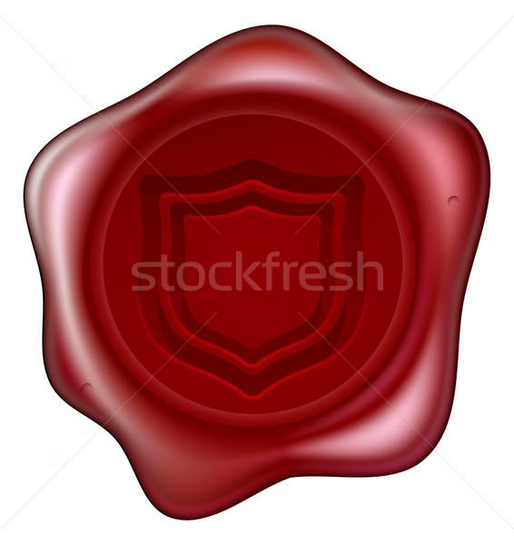 Bouclier cire sceau rouge motif Photo stock © Krisdog