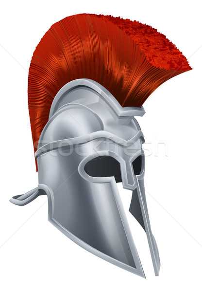 Photo stock: Trojan · casque · illustration · anciens · grec · guerrier