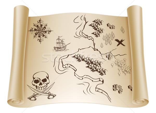 Old Treasure map on scroll Stock photo © Krisdog