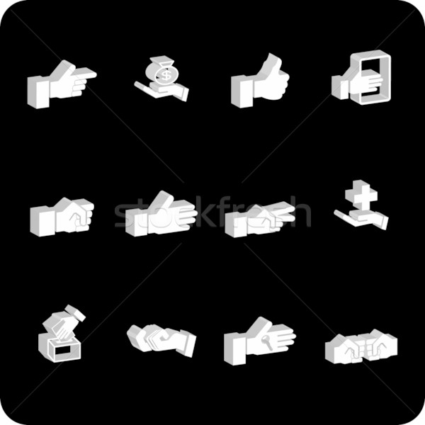 Stock photo: hands icon set