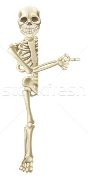 Cartoon Halloween Skeleton Pointing Stock photo © Krisdog