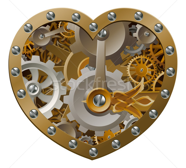 Steampunk coeur forme de coeur engins mariage Photo stock © Krisdog