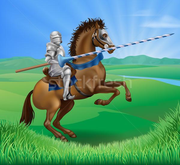 Knight on horse with lance Stock photo © Krisdog